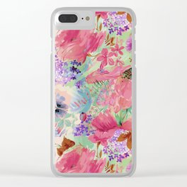 abstract floral pink Clear iPhone Case