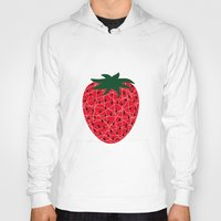 strawberry Hoodies featuring Strawberry by Dpat Designs