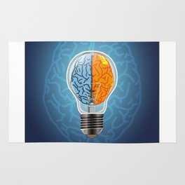 Left and Right Brain, how an idea originated, whether from the left or right brain Rug