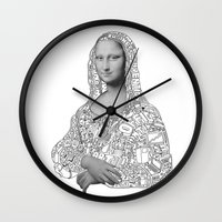 mona lisa Wall Clocks featuring Mona Lisa by nice to meet you