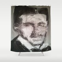 tesla Shower Curtains featuring Tesla by Larry Caveney