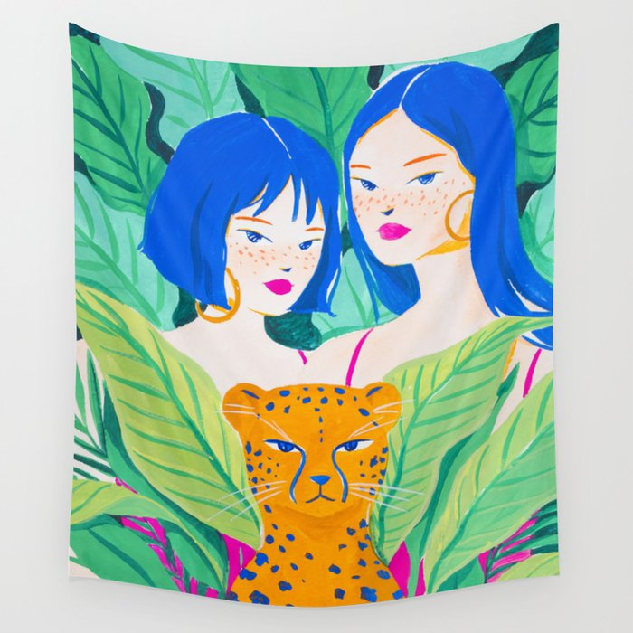 Girls and Panther in Tropical Jungle Wall Tapestry