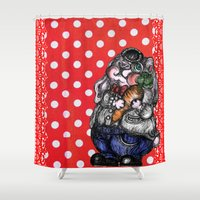 rabbit Shower Curtains featuring Rabbit by AKIKO