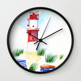 Borkum Lighthouse whimsical watercolor painting Wall Clock