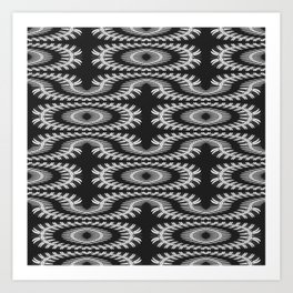 Monochrome centipede arabesque Art Print