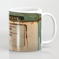 pocket fuel Mugs featuring old pump fuel by frenchtoy