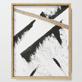 Sassy: a minimal abstract mixed-media piece in black, white, and gold by Alyssa Hamilton Art Serving Tray