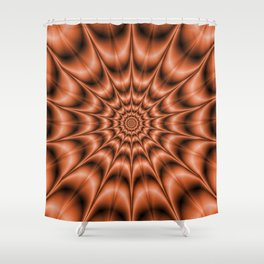 Spiked Rings In Orange Shower Curtain