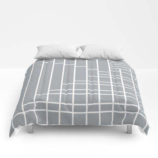 Fuzz Outline Grey Comforters