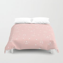 Cute girly hand drawn abstract cat face on pastel pink Duvet Cover