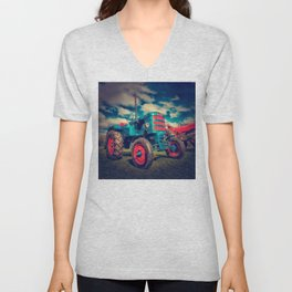 Cool Blue Red Vintage Tractor Unisex V-Neck