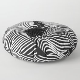 Minimalist Abstract Modern Ripple Lines Projected Woman Sensual Cool Feminine Black and White Photo Floor Pillow
