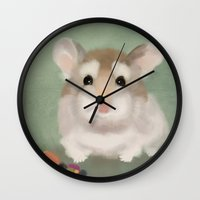 hamster Wall Clocks featuring Harvest Hamster by Visual Condyle