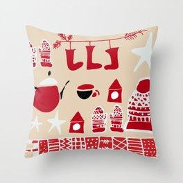 winter gear ivory Throw Pillow