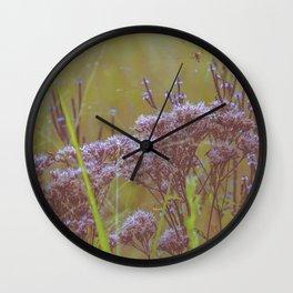 Summer Botanical Meadow Marsh with Joe Pye Weed and Blue Vervain Wildflowers Wall Clock