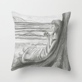A Cool, Quieting Thought (Girl by tree on the beach) Throw Pillow