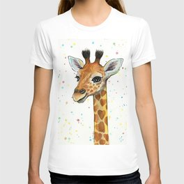 Baby-Giraffe-Nursery-Print-Watercolor-Animal-Portrait-Hearts T-shirt