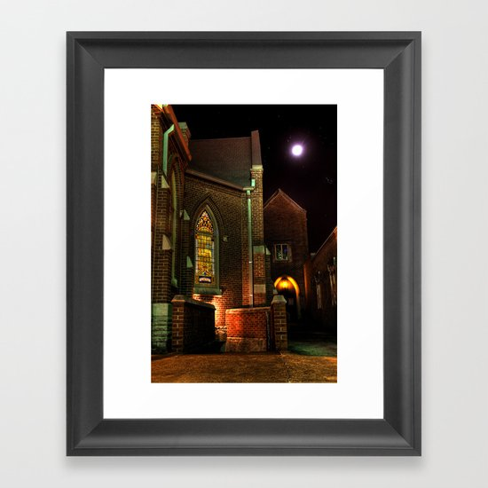 Stained Glass Starry Night Framed Art Print