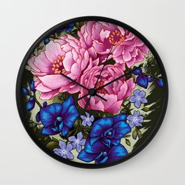 pinky and blue flowers Wall Clock