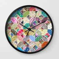 quilt Wall Clocks featuring Betty's Diamond Quilt by Rachel Caldwell