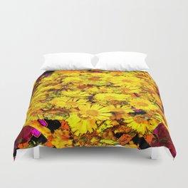 Rich Golden Yellow  Coreopsis Flowers Modern Art Duvet Cover
