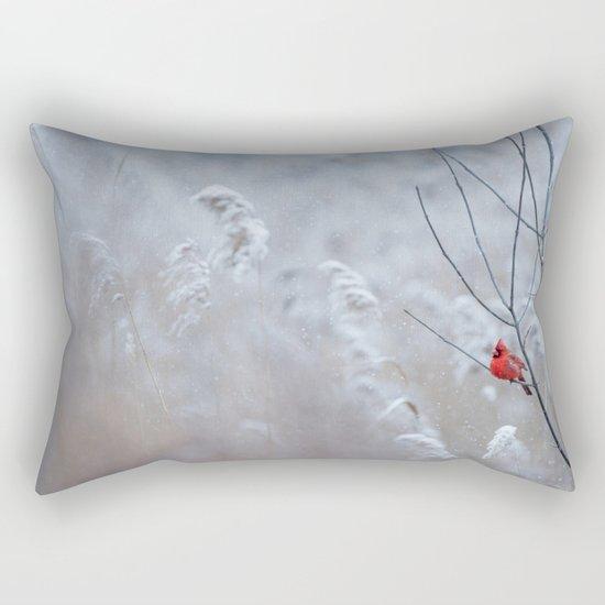 cardinal bird in winter Rectangular Pillow