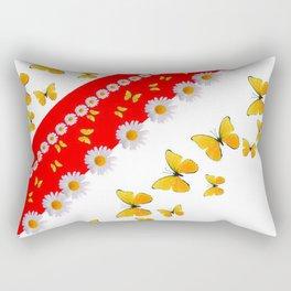RED MODERN ART YELLOW BUTTERFLIES & WHITE DAISIES Rectangular Pillow