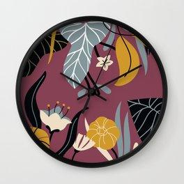 Midnight Jungle Pattern on Plum Wall Clock