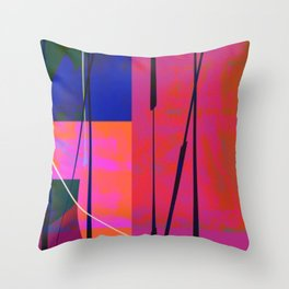 Modern Bold Pink Blue Orange Abstract Throw Pillow