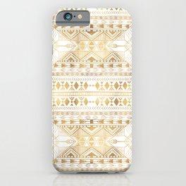 Trendy Gold Geometric Tribal Aztec Pattern iPhone Case