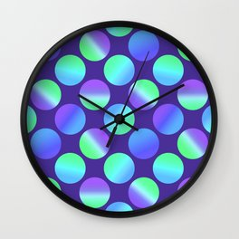 Gradient Polka Dots (Purple and Blue and Green)! Wall Clock