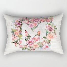 Initial Letter M Watercolor Flower Rectangular Pillow