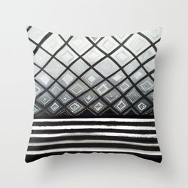 Woven Basked Diamond Ombre in Silver and Black Throw Pillow