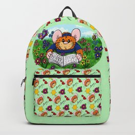 Hammy reading in a Meadow (light green) Backpack