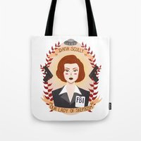 scully Tote Bags featuring Dana Scully by heymonster