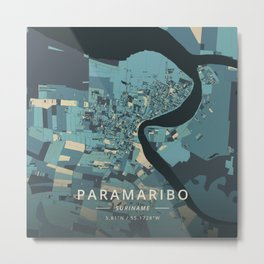 Paramaribo, Suriname - Cream Blue Metal Print