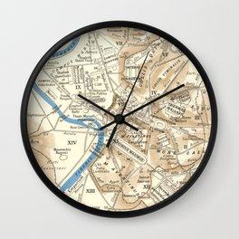 Vintage Map of Rome Italy (1870) Wall Clock