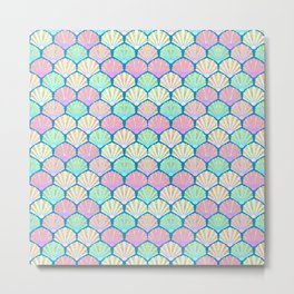 seashells in pink and teal, perfect for a mermaid Metal Print