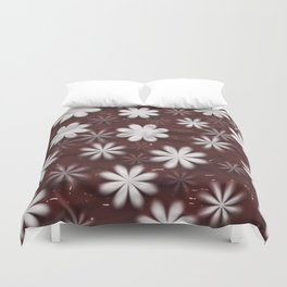 Melted Chocolate and Milk Flowers Pattern Duvet Cover