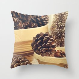 pinecones in yellow ware Throw Pillow