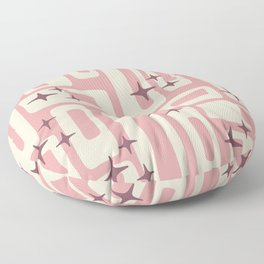 Retro Mid Century Modern Abstract Pattern 576 Dusty Rose Floor Pillow