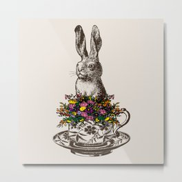 Rabbit in a Teacup Metal Print