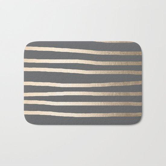 Simply Drawn Stripes White Gold Sands on Storm Gray Bath Mat
