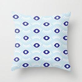 Wide Eye Awake Blues Throw Pillow