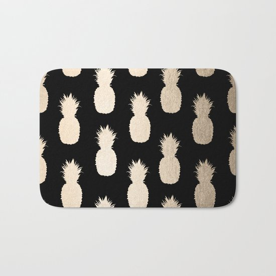 Gold Pineapples Pattern Black Bath Mat