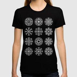 minimalist snow flakes on black T-shirt