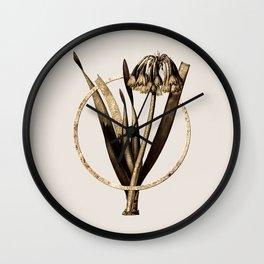 Gold Ring Knysna Lily Glitter Botanical Illustration Wall Clock