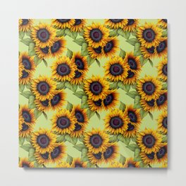 Sunflowers field yellow green rustic pattern Metal Print
