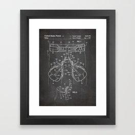 Rock Climbing Harness Patent - Rock Climber Art - Black Chalkboard Framed Art Print