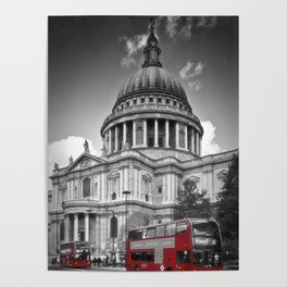 LONDON St. Paul's Cathedral & Red Bus Poster